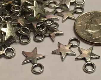 15 tibetan silver star charms, 8 x 11 mm (2)