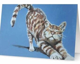 Stretching Cat Card