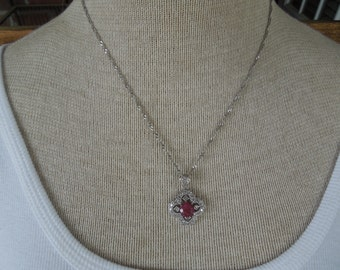 Vintage Necklace, Rhinestones Studded Pendant with Central Red Stone and Silver Toned Chain 18 + 2.5.