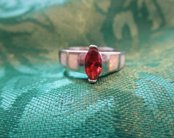 Vintage Costume Ring, Silver Toned with Red Rhinestone and Faux Opal.  Size 6.  Pretty