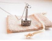 Thor Badge Hammer ,Pendant Avengers, Vintage Men's Necklace,Gift Bag Included