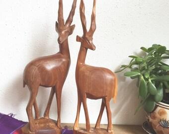 Vintage Handcarved Wood Antelope Pair