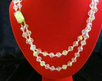 ON SALE Vintage Double Strand AURORA Borialis Necklace With Original Box Item K-1475