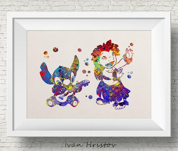 Lilo Stitch Lilo Amp Stitch Disney Watercolor Art Print