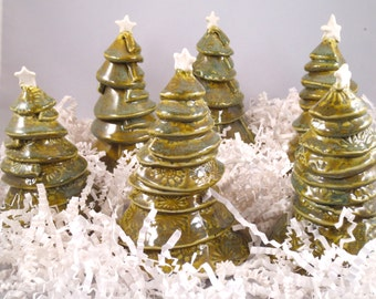 Christmas Tree, miniature, porcelain, green trees, ceramics and pottery,handmade trees, holiday decor