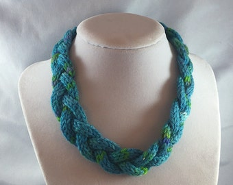 Monet Monet: yarn jewelry, icord necklace, braided choker, turquoise necklace, jewelry for knitters, yarn necklace, soft necklace