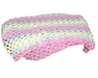 Baby Blanket, Crochet Baby Afghan, Pastel Blanket, Rainbow Afghan, Rainbow Blanket, Granny Baby Blanket, Pink Afghan, Crib Afghan, Car Seat