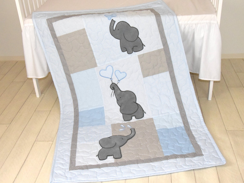 Baby Boy Quilt Elephant Blanket Blue Gray Crib Bedding