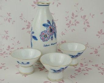 Sakura Masamune Sake Set 3 Cups and Bottle White Porcelain with Pink Blue Cherry Blossom Made in Japan