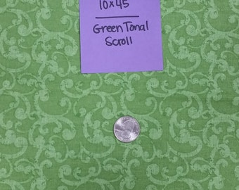 Green Tonal Scroll Remnant 10x45 Quilting Cotton