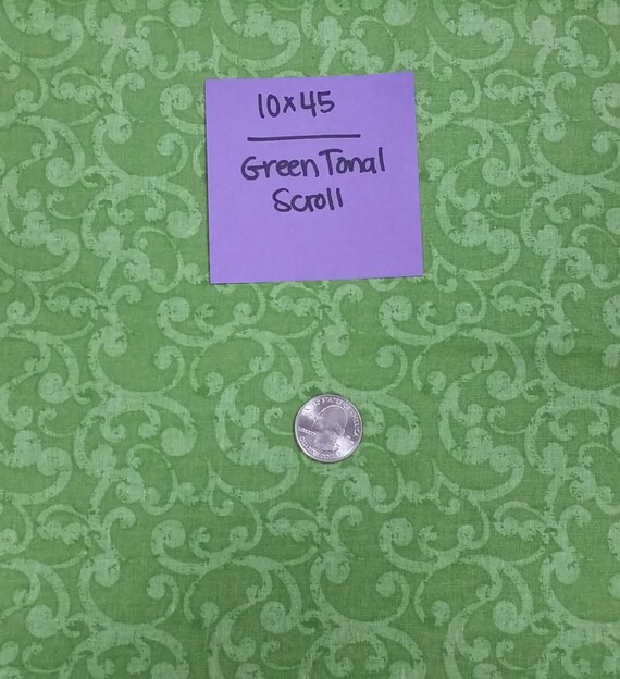 Green Tonal Scroll Remnant 10x45 Quilting Cotton From