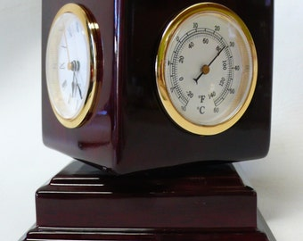 Vintage Rotating Cube Frame / Weather Station / Picture Frame / Clock Rosewood Finish