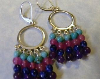 Pink, Purple and Blue Opaque Gemstone Chandelier Earrings