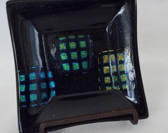 Dichronic Art Glass Dish, Black with Greens,  Blues, Gold