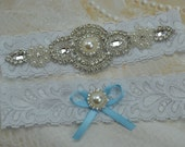 Wedding Garter Set, Pearl and Rhinestone Garter Set, White Lace Garter Set