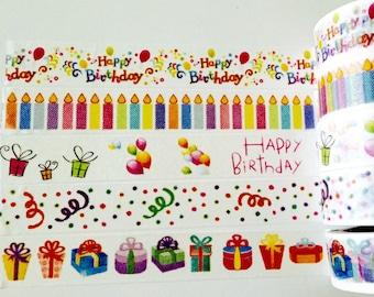 Birthday Washi Tape in 5 Patterns
