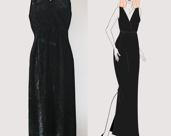 Vintage 1980's Long Black Dress, velvet