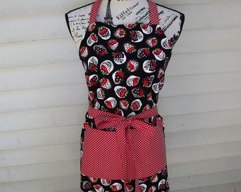 Chocolate Covered Strawberry Reversible Apron