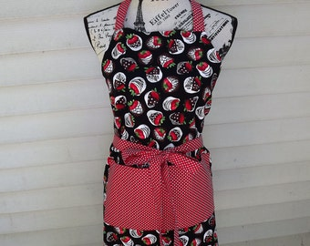 Reversible Chocolate Covered Strawberry Apron