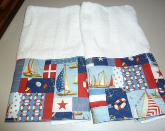 Nautical Decorative Hand Towels (Set of 2) Colorful Sailboats in Red, White, Blue and Gold