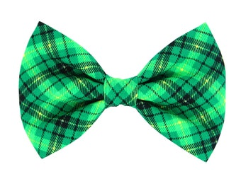 St. Patrick's Day Plaid Dog Bow Tie/ Green and Black Collar Bow Tie: Pat's Plaid