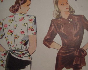 Vintage 1940's Simplicity 1121 Overblouse Set Sewing Pattern, Size 12, Bust 30
