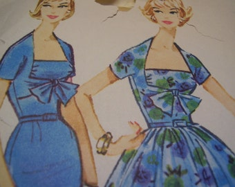 Vintage 1950's McCall's 4885 Dress Sewing Pattern, Size 15, Bust 35