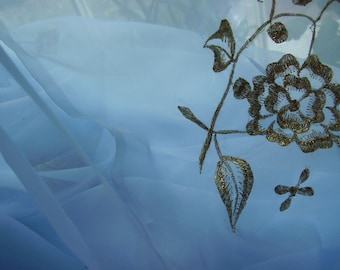 Stunning Vintage 1950's, 60's Light Blue Gold Roses Sheer Fabric