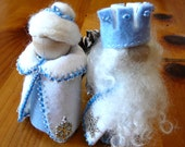 King & Queen Winter Peg Doll Couple, Large Waldorf Wooden Peg Doll Pair, Handmade Miniature