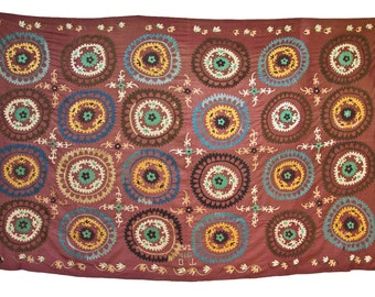 Suzani Vintage Suzani Old Embroidery Suzani Wall Hanging Uzbek Suzani Table Cover Ethnic Suzani 7.02' x 10.89' FAST SHIPMENT with ups - 104