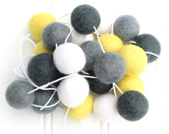 Gender Neutral Pom Pom Garland, Felt Ball Garland, Yellow White and Grey, Nursery Decor, Felt Ball Bunting, Baby shower Decor, Felt Pom Poms