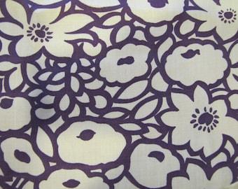 VTG Modern Purple Cotton, Purple, Floral, Flower, Cotton Blend, Modern, 1980's, 1990's, Modern Floral, White, 1990's, 1980