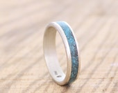 Mens ring, women band, sterling silver wedding ring with crushed turquoise inlay