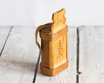 Vintage Swedish Handmade Birch Bark Box, Rustic Style Home decor, Cottage Decor, Storage