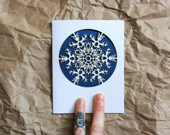 Snowflake Holiday Greeting Card: Laser Cut Holiday Greeting-Single Card