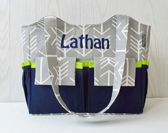 Personalized Diaper Bag in Gray Arrows and Navy Blue Lime Green for Baby Boy or Girl 11 Pockets Nappy Bag
