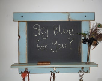 Chalkboard-Craftsman style country chic with shelf and hooks in Sky Blue