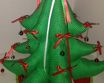 Quilted Plush 3D Embellished Fabric Christmas Tree-  17 x 18