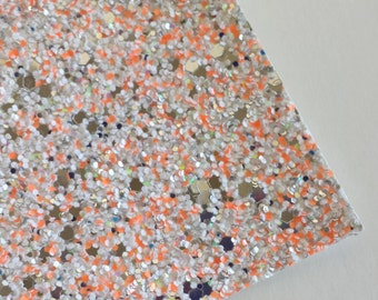 SALE 8x11 Foxy Multi Color Chunky Glitter Fabric Sheet