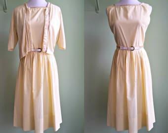 1950s/60s Sunshine Yellow L'aiglon Dress - Sweet Cardigan and Dress Set - Medium
