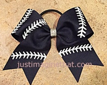 "2.25"" x 6"" x 6"" Softball Sports Bow with your Choice of Ribbon Color and Stitching"