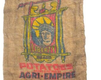 Vintage Burlap Potato Sack Liberty Brand California