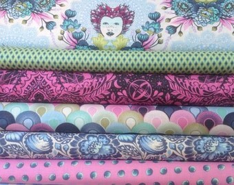 ELIZABETH--Tula Pink--Fat Quarter Bundle--Sky colorway--7 fat quarters