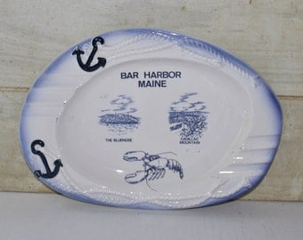 "Large Bar Harbor Maine Ceramic Ashtray - Blue and White - Nautical - Lobster - Anchor - 9.5"" X 7""- Vintage - Home Decor - Souvenir"