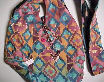 "Crossbody Bag  Reversible Washable  ""SANTA FE ARROWS"" Loop Purse Tribal Boho with Keychain / Bagcharm"