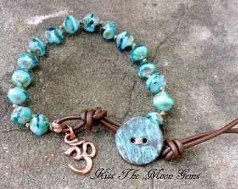 Knotted Bracelet - Czech Glass - Ocean Blues