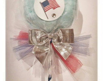 Red white and blue cotton candy pops July 4th, Memorial Day (12 pops)