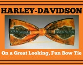 Great Looking BowTie Made From Harley Davidson Fabric - Shipping NEVER M0RE THAN 1.49