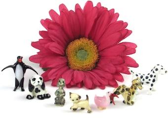 itty bitty Miniature Animals - Glass Emperor Penguin - Porcelain Puppy Dog, Poodle, Dalmatian - Porcelain Kitty cat, Giraffe - Glass Bird