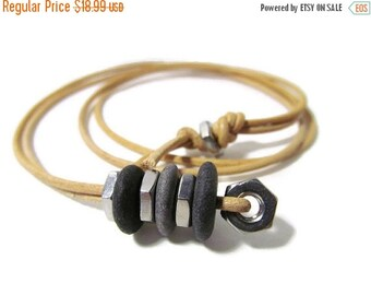 SALE Nuts and Bolts/Stone Cairn Stack/Industrial Hardware/40 In Unisex Leather Necklace/Natural Lake Michigan Beach Stones/Stainless Steel N